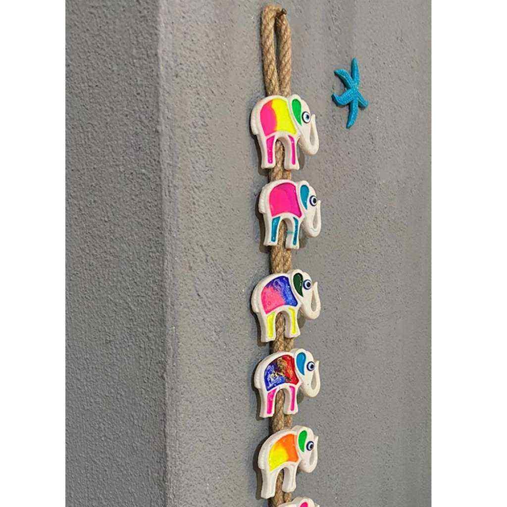 Dekoratif Bahçe Süsü, Renkli 7Li Fil Duvar Süsü